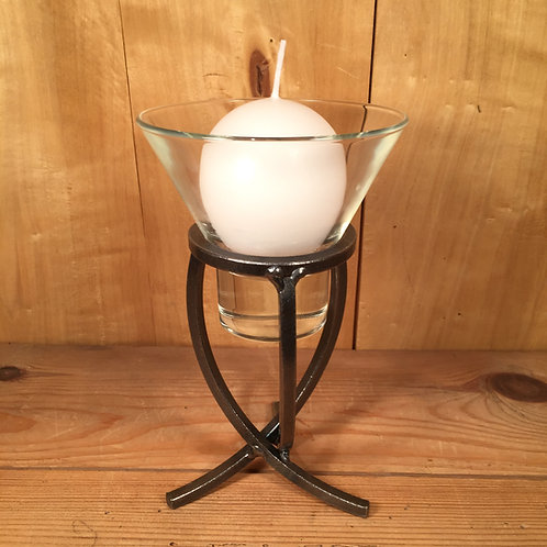 Crossed Tripod Candleholder w/1 Glass Cup