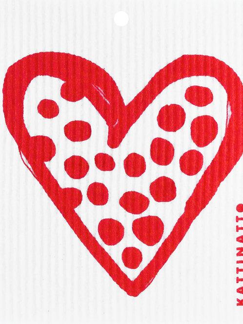 Red Polka Dot Heart Wash Towel (MIN 6)