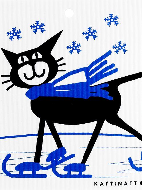 Cat on Skates Wash Towel (MIN 6)