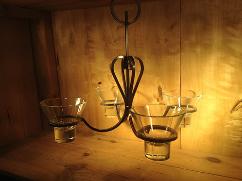 Heart Chandelier w/2 Links and 4 Glass Cups