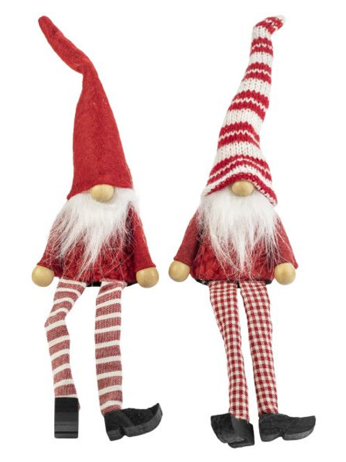 Sitting Santa w/Red Plaid & Striped Legs, 2 Assorted