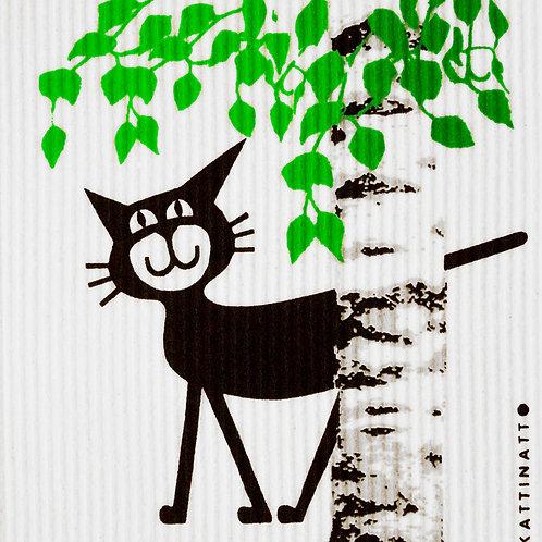 Cat Behind Birch Wash Towel (MIN 6)