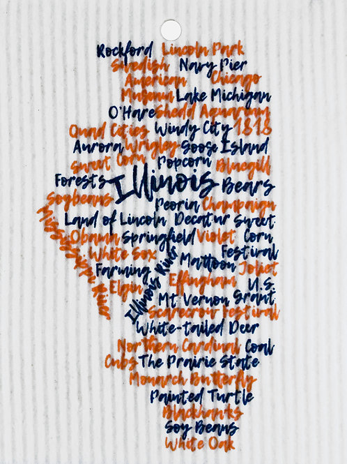 Navy Blue & Orange Illinois Words Wash Towel (MIN 6)
