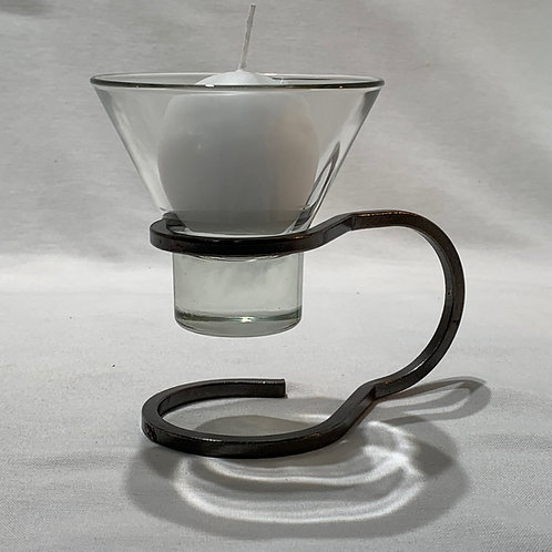 Side Handle Candleholder w/1 Glass Cup