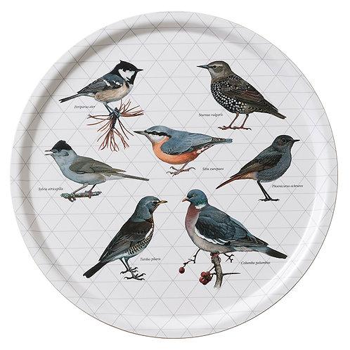 Grey Birds Round Serving Tray