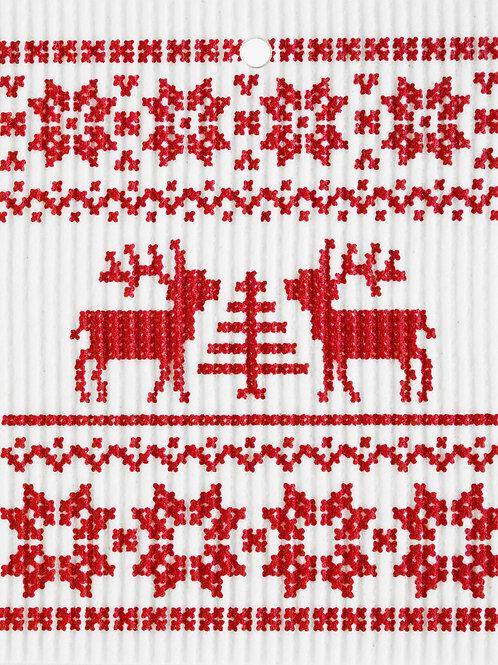 Red Knit Reindeer Pattern Wash Towel (MIN 6)