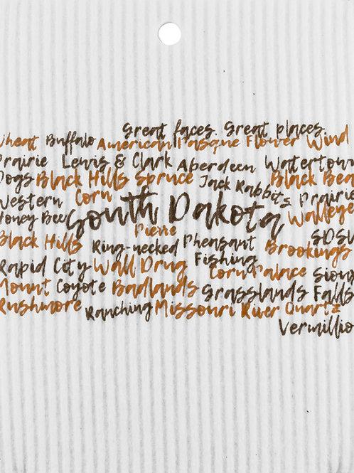 Brown & Orange South Dakota Words Wash Towel (MIN 6)