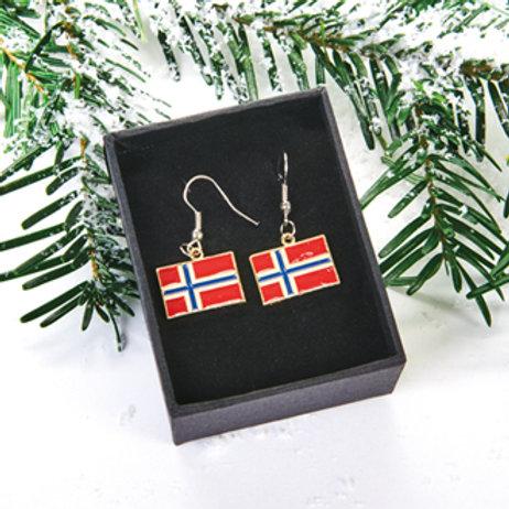 Norwegian Flag Earrings, 2 Assorted