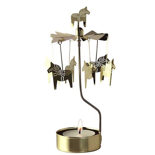 Gold Dala Horse Rotary Candleholder