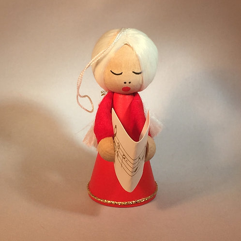 Red Girl Ornament w/Long Blonde Hair