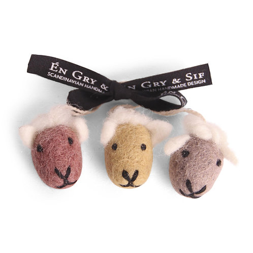 Colorful Sheep Face Ornaments, Set of 3 (MIN 8)