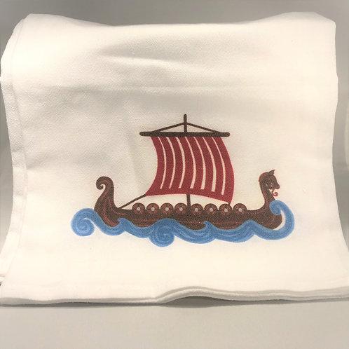 Viking Ship Tea Towel