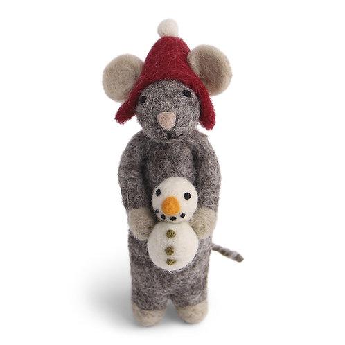 Grey Mouse w/Snowman Ornament (MIN 6)