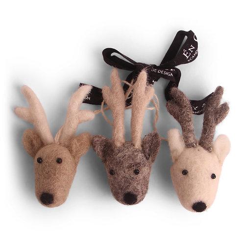 Mini Reindeer Face Ornament, Set of 3 (MIN 8)