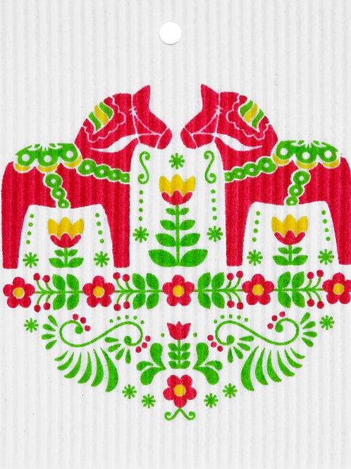 Red & Green Dala Horses Wash Towel (MIN 6)