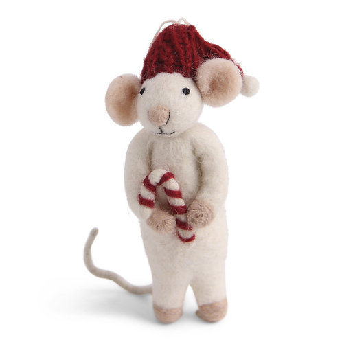 White Mouse w/Candy Cane Ornament (MIN 6)