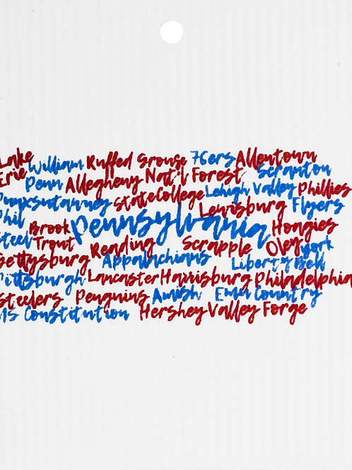 Red & Blue Pennsylvania Words Wash Towel (MIN 6)