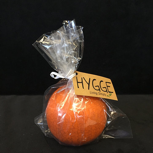 "HYGGE Carrot Orange 3"" Crackle Ball Candle"