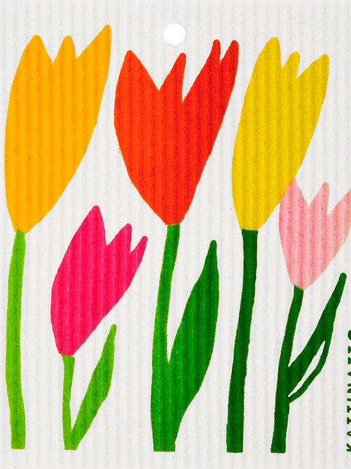 Yellow & Pink Tulips Wash Towel (MIN 6)