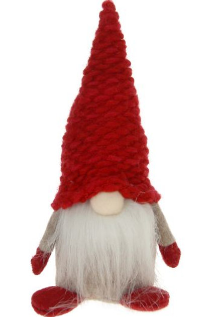 Santa w/White Beard & Red Knitted Hat