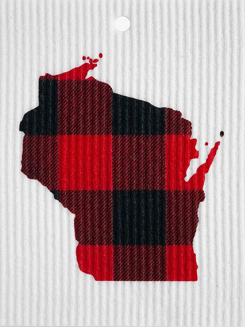 Wisconsin Buffalo Plaid Wash Towel (MIN 6)