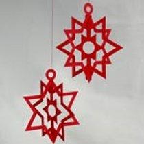 Red Triple Star Mobile, 2/pkg