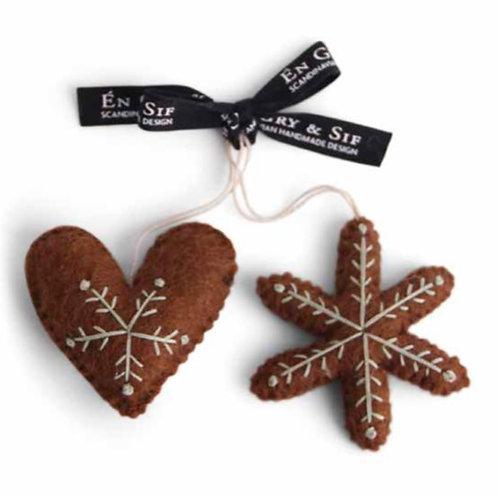 Gingerbread Heart & Star Ornament (MIN 8)