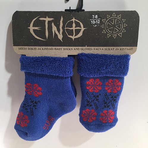 Royal Blue Muhu Baby Terry Socks & Mitten Set