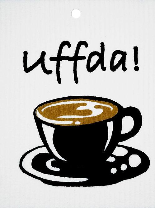 Black Uffda! Coffee Cup Wash Towel (MIN 6)
