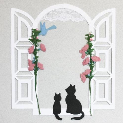 Cat & Flowers by Door Mobile