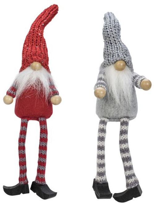 Red & Grey Glitter Sitting Santa, 2 Assorted