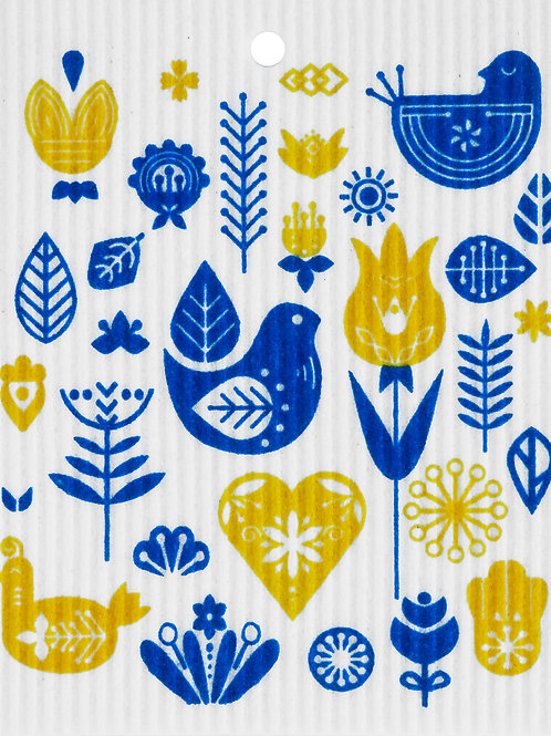Yellow & Blue Birds Wash Towel (MIN 6)