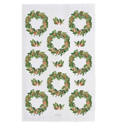 Holly Wreaths Tea Towel