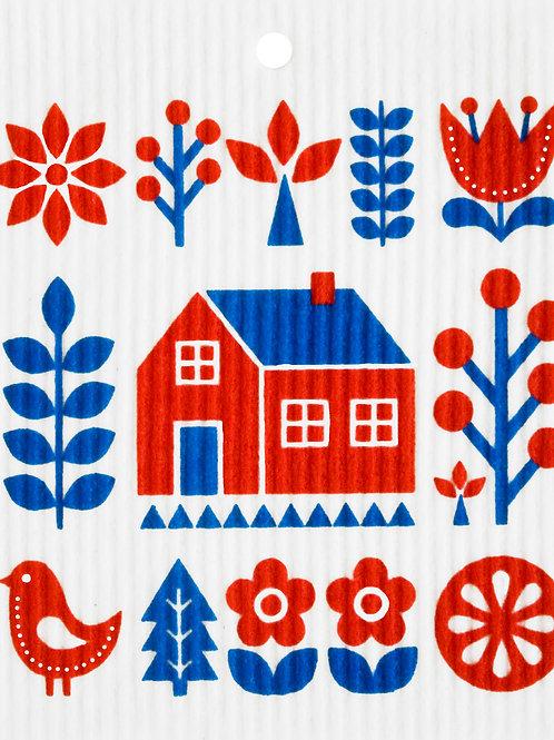 Swedish House w/Bird Wash Towel (MIN 6)