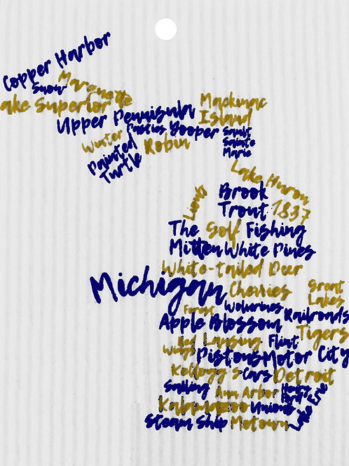 Blue & Gold Michigan Words Wash Towel (MIN 6)