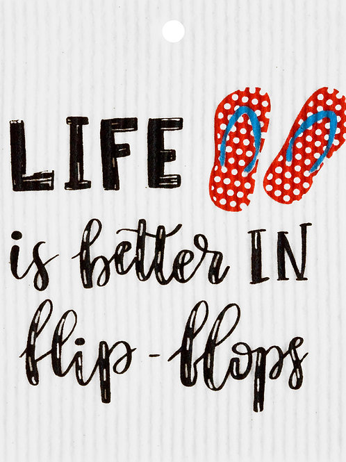Life is Better in Flip Flops Wash Towel (MIN 6)