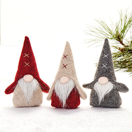 Gnome w/Stiches on Hat, 3 Assorted