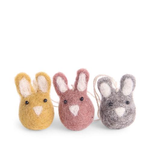 Colorful Mini Bunny Ornaments, Set of 3 (MIN 8)