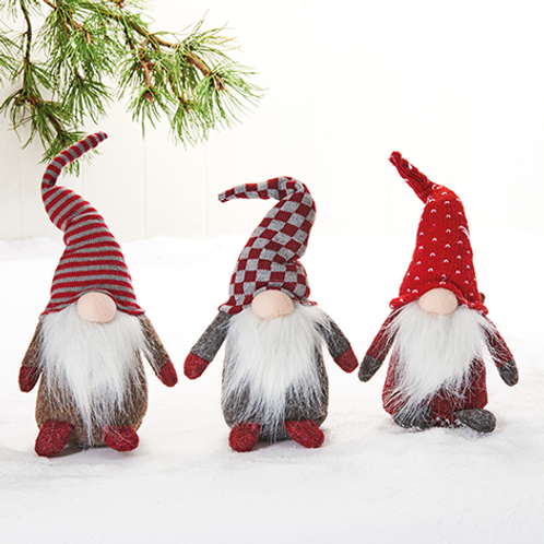 Gnome w/Bendable Hat, 3 Assorted