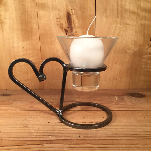 Heart Handle Candleholder w/1 Glass Cup