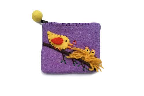 Purple Bird w/Babies Purse