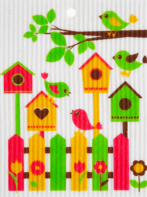 Birdhouses & Fence Wash Towel (MIN 6)