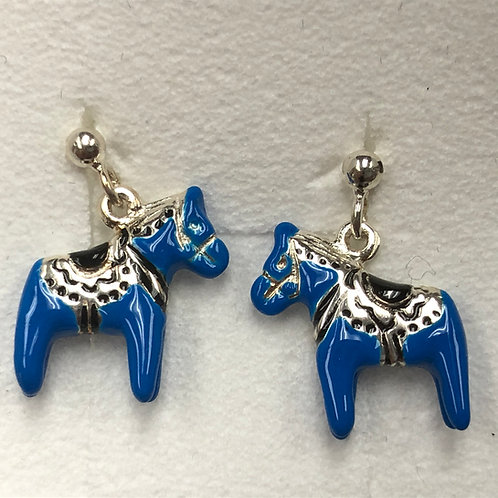 Blue Dala Horse Earrings