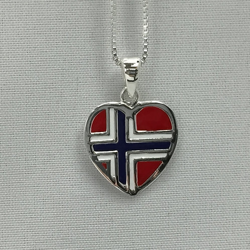 Norwegian Flag Heart Necklace