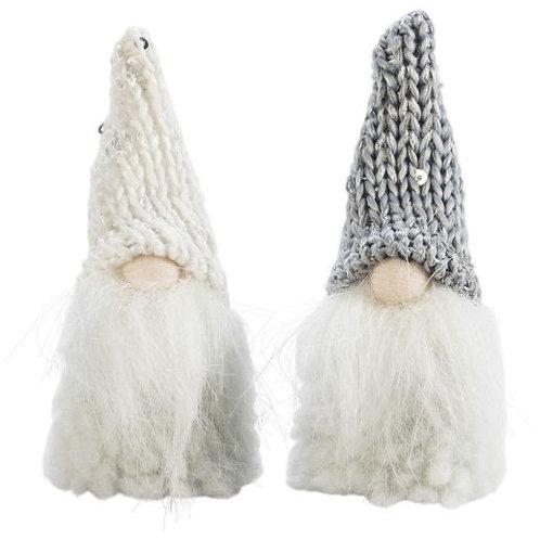 White & Grey Glitter Santa w/Beard, 2 Assorted