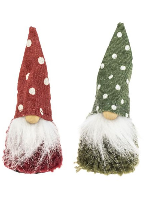 Red & Green Santa w/Dot Hat, 2 Assorted