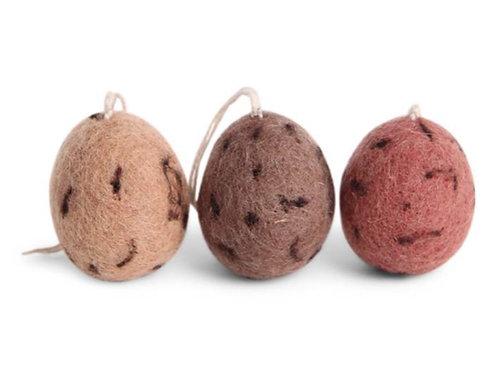 Set of 3 Natural Red Egg Ornaments (MIN 8)