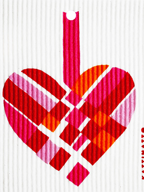 Pink & Red Woven Heart Wash Towel (MIN 6)