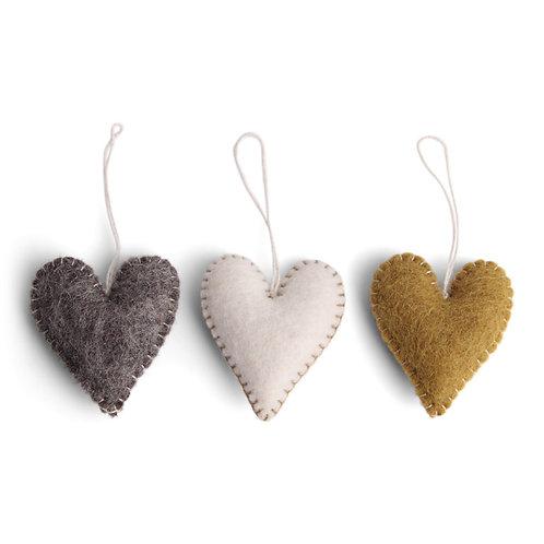 Burnt Colors Heart w/Stitching Ornament, Set of 3 (MIN 8)