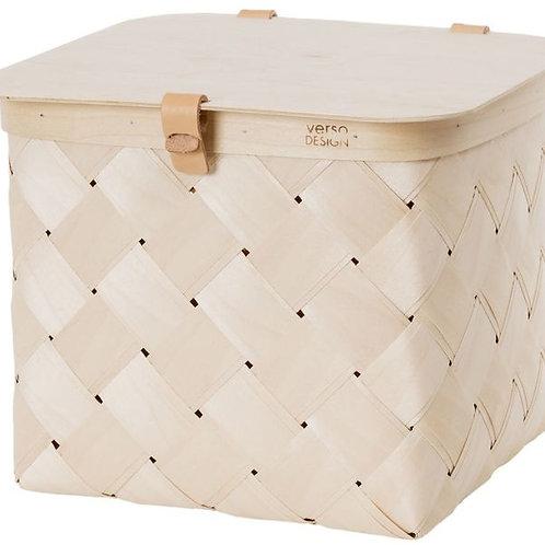Medium Lastu Basket + Lid w/Beige Leather Handles